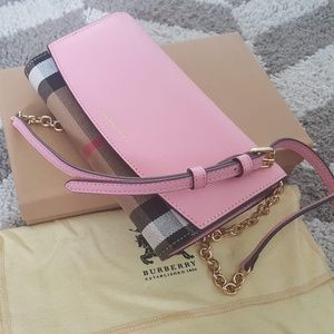 BURBERRY HENLEY CHECK AND LEATHER WOC PINK